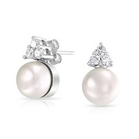 Bling Jewelry Pearl Hope CZ Studs