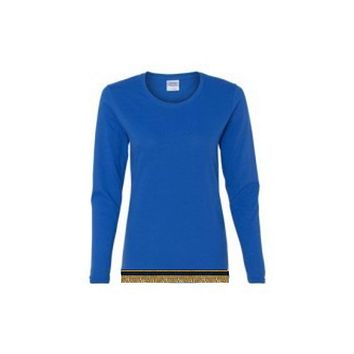Women's Royal Blue Long Sleeve T-shirt With Fringes