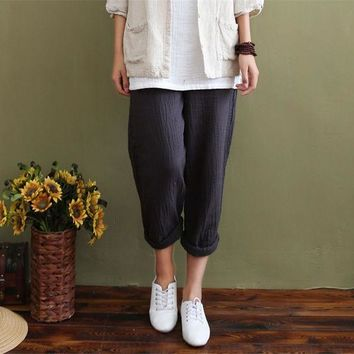 ICIKF4S Johnature 2017 Spring New Women's Original Cotton Pants Casual Breathable Loose Linen Trousers Vintage Solid Colour Long Pants