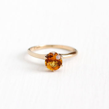 Antique 10k Rosy Yellow Gold Citrine Ring - Vintage Size 5 1/2 Edwardian Solitaire Orange Gemstone November Birthstone P. & S. Fine Jewelry