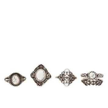 Silver Stackable Howlite Rings - 5 Pack by Charlotte Russe