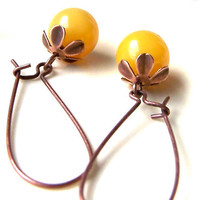 Yellow Gemstone Earrings, Golden Yellow Agates, Vintage Style, Sunshine, Summer Fashion, Dangle Earrings