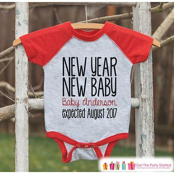 New Year New Baby Outfit - Custom New Years Eve Outfit - Pregnancy Announcement - Baby Reveal - Red Baseball Tee - Kids Red Raglan