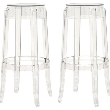 Clear Bettino Barstools, Pair, Acrylic / Lucite, Bar & Counter Stools
