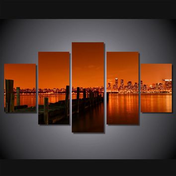 New York City Cityscape print at sunset Wall Art Print on Canvas