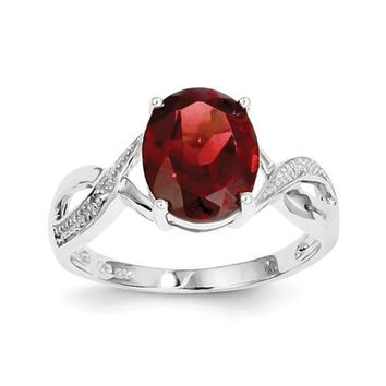 Sterling Silver Genuine 10x8mm Oval Garnet & Diamond Ring