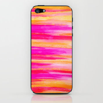 Welcome to Funky Town - Disco Inferno Dance Party Bold Rainbow Stripes Abstract Watercolor Painting iPhone & iPod Skin by EbiEmporium | Society6