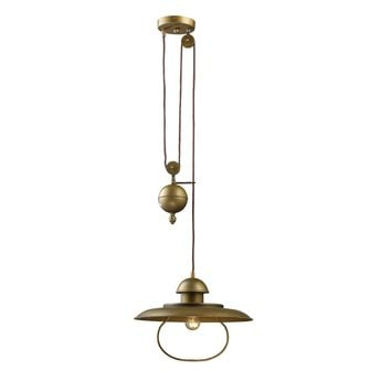 65051-1 Farmhouse 1 Light Pulldown Pendant In Antique Brass - Free Shipping!