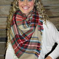 Tan and Red Plaid Blanket Scarf