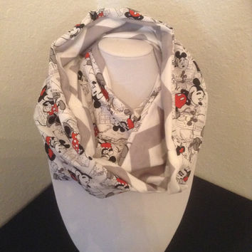 Mickey Minnie Mouse Infinity Scarf - Cotton Cowl - Comic, Gray, Disney Chevron Circle Scarf