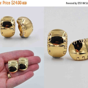 ON SALE Vintage St. John Gold Hoop Clip Earrings, Cutout, Dovetail, Modernist, Chunky, Designer Signed, Big, Bold, Gold, So Unique! #b843