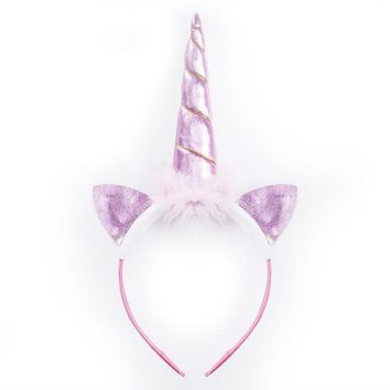 US Unicorn Horn Head Party Kids Hair Headband Fancy Dress Cosplay Decor res
