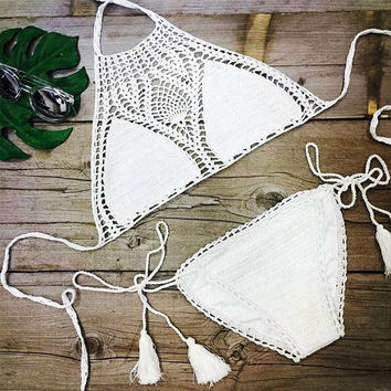 Sweet Nothings Crochet Women Black or White Bikini Set