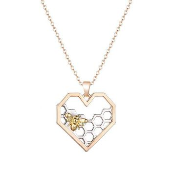 ac spbest 2017 Heart Hive Pendant Necklace Fashion Women Jewelry Rose Gold color Chain Necklaces Collares Women's Gift