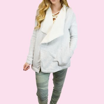 get cozy sherpa sweater cardigan-heather grey