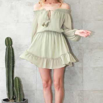 chiffon vintage Off shoulder long sleeve dress Ruffle