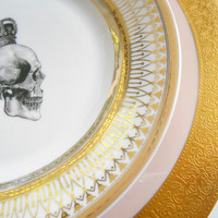 2 Piece Skull Set Pink and Gold - Haviland Dinner Plate and Skull Salad or Soup Plate of your Choice