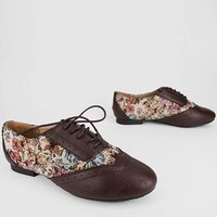 floral inset oxford flat $17.60 in BROWN - Flats | GoJane.com