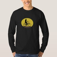 Man Riding Easy Rider Bicycle Silhouette Oval Retr T-Shirt