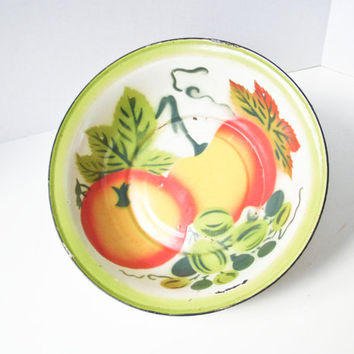Enamelware Bowl, Fruit Bowl, Large Colorful, Mid Century, Centerpiece