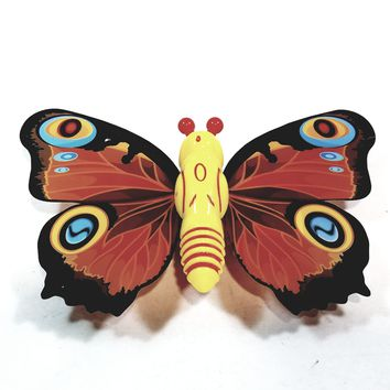 """Cute Insect Orange Wing Mini Yellow Butterfly Moving 5.15"""" Wingspan Wind Up Plastic Figure Toy"""