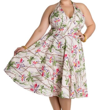 Retro Vintage 50's Tropical Island Bamboo And Tiki Halter dress