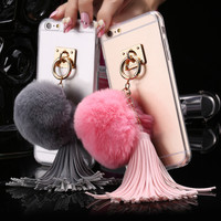 For iPhone 6 6S Plus Case Real Rabbit Fur Hair Ball Clear Phone Cases For Apple iPhone 7 7 Plus Cover Cute Leather Tassels Coque