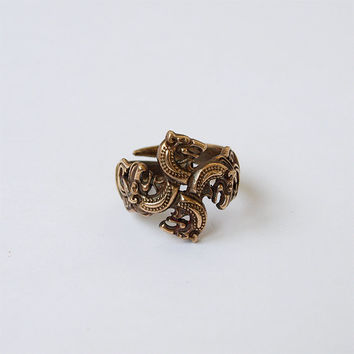 Celtic wolves heads Ring Size 6 Brass jewelry