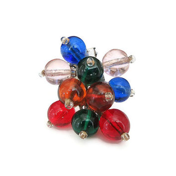 Vintage Dress Clip, Vintage Scarf Clip, Glass Beads, Multi Color, Rainbow, Miriam Haskell Style, Vintage Jewelry