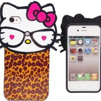 Hello Kitty 3D Leopard Heart Iphone 4/4s Case, Snap on Back Cover by Jersey Bling