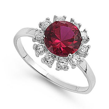 925 Sterling Silver CZ Red Sun Simulated Garnet Ring 12MM