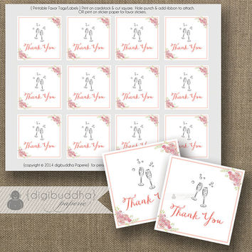 Champagne Bloom Favor Tags INSTANT DOWNLOAD Bridal Shower Champagne Brunch Thank You Tags Glasses Fizz Wedding Labels DIY Printable- Anissa
