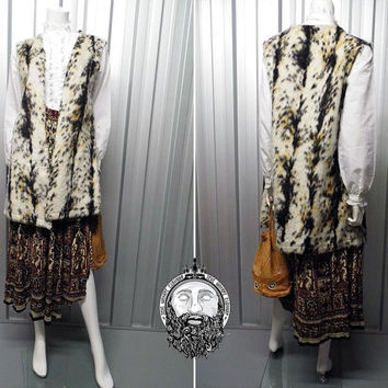 Vintage 70s Vest Faux Fur Gilet Animal Print Duster Jacket Long Vest Sleeveless Cardigan Fur Vest Bodywarmer Boho Vest Hippie Clothing Hippy