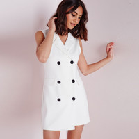 V-Neck Notched Collar Sleeveless A-Line Mini Dress