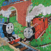 Vintage Thomas the Tank Engine & Friends Train Bedding Duvet Cover Comforter Quilt TWIN Size Craft Fabric Clean Used