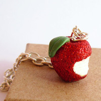 Red apple Necklace, Sparkle Bitten Apple, Snow White inspired