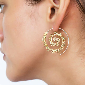 Spiral brass and sterling silver earrings. Unique hand made tribal indian style brass and sterling silver earrings
