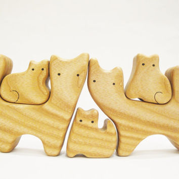 Cats Family (5 members) Wooden Animal Puzzle Cat figurine Woodland set Handmade Eco Friendly Toys for toddlers Learning Toys Montessori