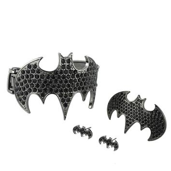 Replenishment! Cheap jewelry personality exaggeration Superman Batman double spring bracelet ring set Europe and jewelry JW