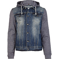 River Island MensMid wash jersey sleeve denim jacket