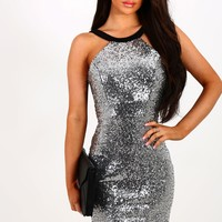 Women All Over Sequined Sleeveless Shiny Mini Dress