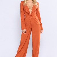 Yahir Satin Jumpsuit - Rust