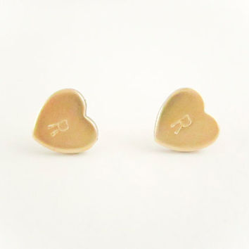 Initial Heart Earrings,  Initial Earrings, Personalized Letter Earrings, Bridesmaid Jewelry Gift, Brass Gold, Spring Jewelry, Wedding Gift