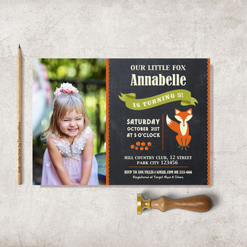 Photo Birthday Invitation Printable, Fall Birthday Invitation, Digital File - Fox Woodland Invite