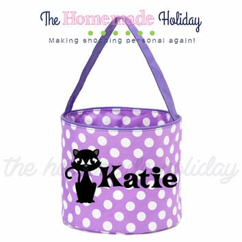 Personalized Halloween trick or treat bag- Black cat halloween trick or treat bucket