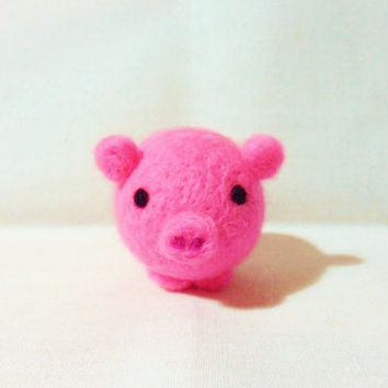 Needle Felted Pig - miniature bright pink pig figure - 100% merino wool - wool felt pig - bright pink pig