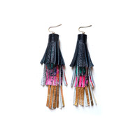 Gold Tassel Leather Long Fringe Layer Earrings in Gold Black and Pink | Boo and Boo Factory - Handmade Leather Jewelry