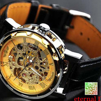 Mens Watch Steampunk Wrist Mechanical Watch Leather Gold - Anniversary Gifts for Men