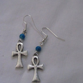 Turquoise Egyptian ankh earrings