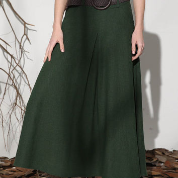 Green skirt linen skirt maxi skirt long skirt women skirt (1152)